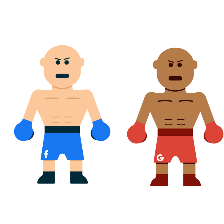 two animated wrestlers facebook vs google