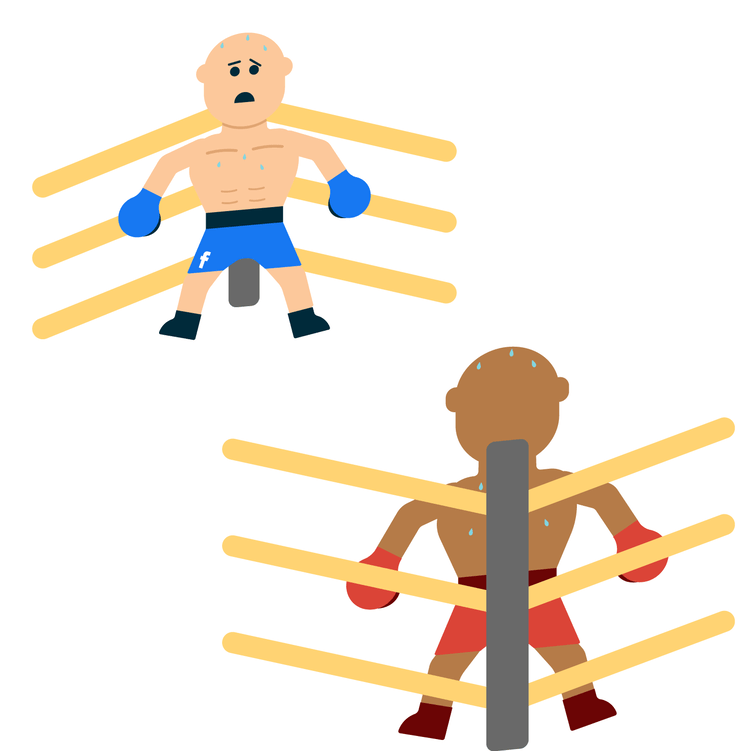 two animated wrestlers each on the end of the ring