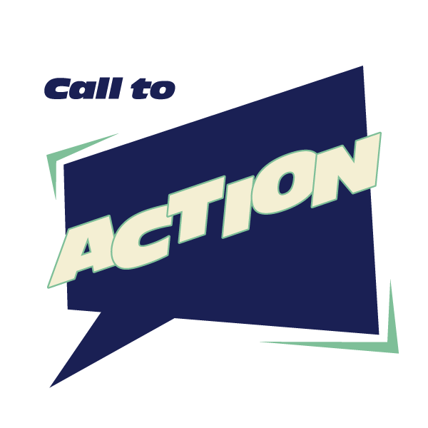 Call to action written on an image
