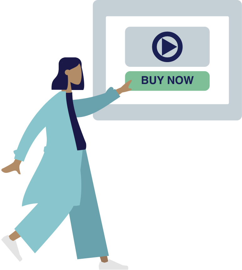 Animated person clicking on Buy now button